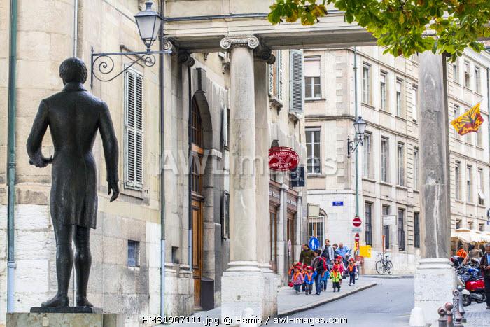 Switzerland, Geneva, rue Henri Fazy, statue of Charles Pictet de Rochemont