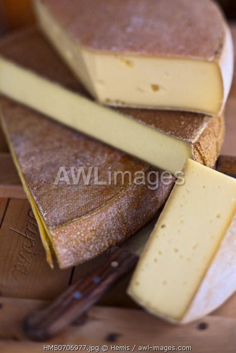 Switzerland, Valais, Troistorrents, Alpine cheeses at La Raclette Cavagne, Farmers' Store