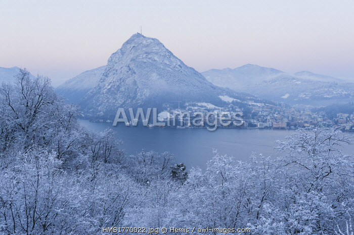 Switzerland, Ticino, Lugano, Mount San Salvatore after a snowfall in February