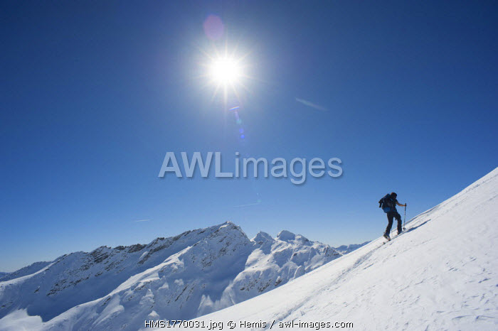 Switzerland, Ticino, Gotthard range, Val Bedretto, off piste skiing at Pizzo Cristallina