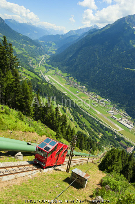 Switzerland, Ticino, Gothard range, Piora valley, Ritom funicular, one of the steepest in Europe with 88% slope