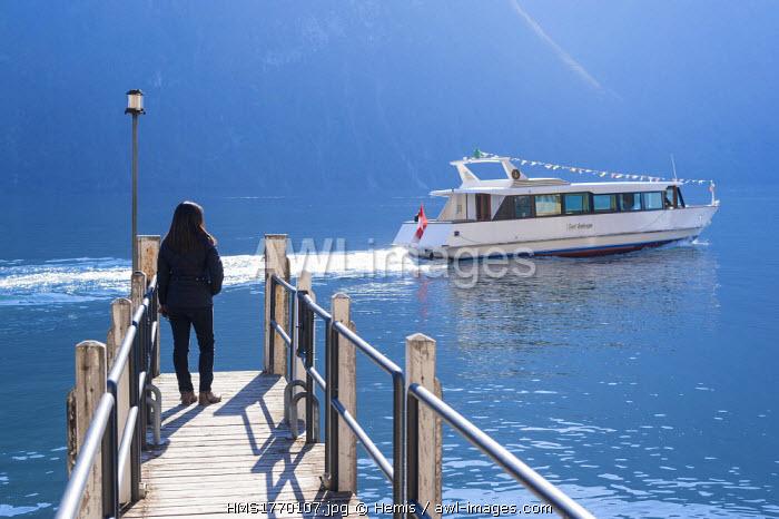 Switzerland, Ticino, Gandria, shuttle boat on Lugano Lake