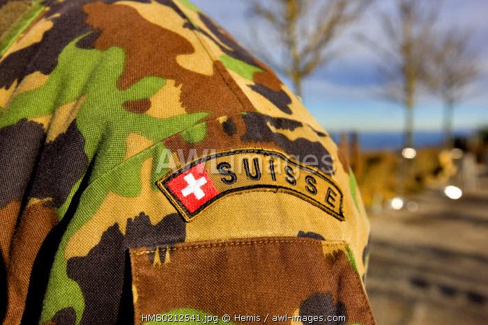 Switzerland, Zurich, badge on army jacket