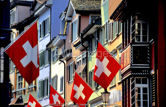 Switzerland, Zurich, festival for the 1st August (the National Day), Swiss flags