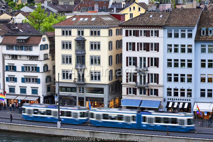Switzerland, Zurich, Limmat River bank, right bank with the tram