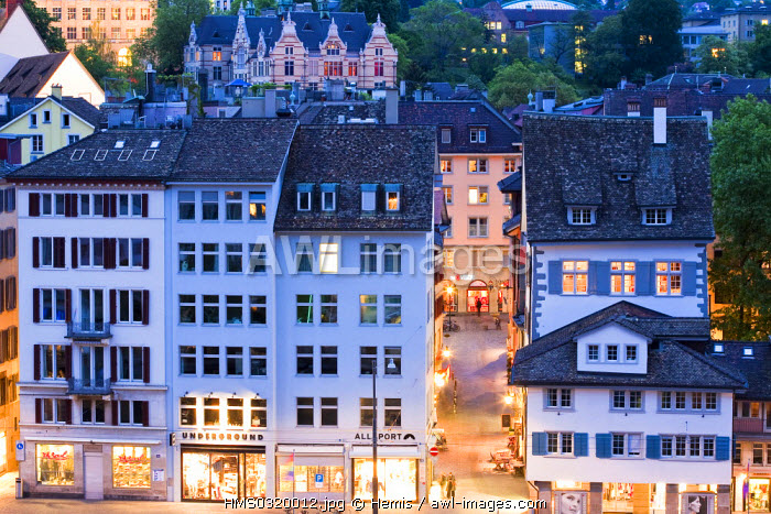 Switzerland, Zurich, Limmat River bank, right bank with the tram view from the Lindenhof Park