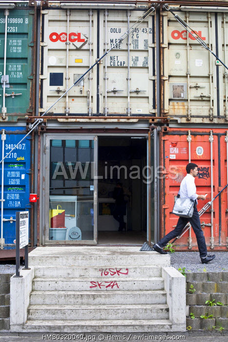 Switzerland, Zurich, shop of the Zurick brand Freitag designed within recycling containers, brand created by the Freitag Brothers in 1993