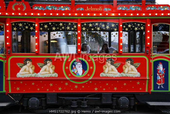 Switzerland, Zurich, Santa Klaus tramway at Christmas