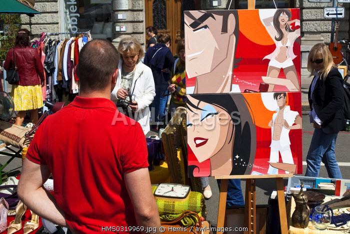 Switzerland, Zurich, Burkliplatz, flea market on Saturday