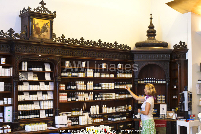 Vienna, Austria, Saint Charles' pharmacy, dating from 1886, renovated in 2006, selling all kinds of organic beauty products, and medicinal plants