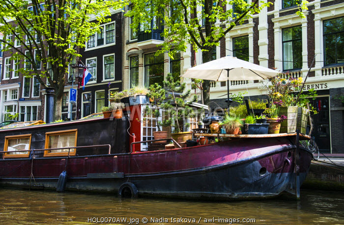 Traditional houseboat, Amsterdam, the Netherlands