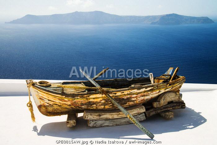 Fishing boat on the roof, Firostefani, Santorini (Thira), Greece
