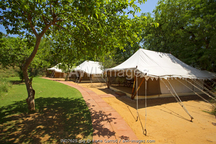 India, Rajasthan, Ranthambore. Sher Bagh, a luxurious tented camp situated close to the entrance of Ranthambore National Park.