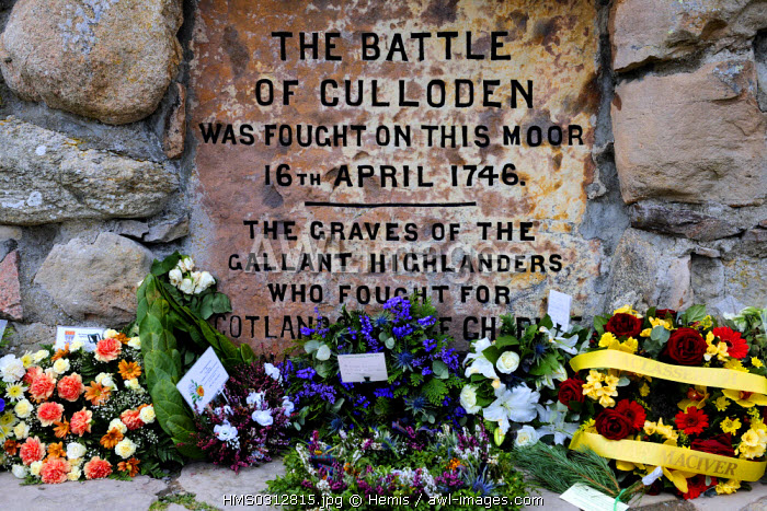 United Kingdom, Scotland, Highlands, Inverness, memorial dedicated to the battle of Culloden