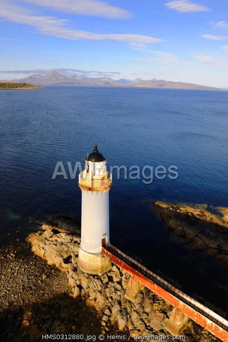 United Kingdom, Scotland, Highlands, Hebrides, Isle of Skye, lighthouse under the bridge at Kyle of Lochalsh