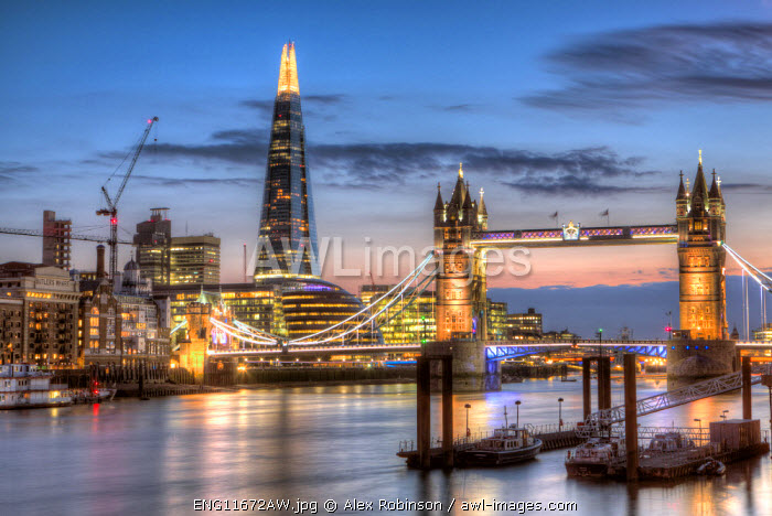 Europe, United Kingdom, England, London, Wapping, the Thames, Tower Bridge, City Hall, Bermondsey warehouses and the Shard at night