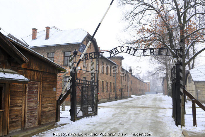 """Europe, Eastern Europe, Poland, Auschwitz-Birkenau (German Nazi Concentration and Extermination Camp) Memorial and State Museum, the gateway to the camp reading """"Work Sets You Free"""" (Arbeit Macht Frei)"""