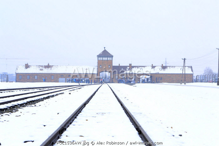 Europe, Eastern Europe, Poland, Auschwitz-Birkenau (German Nazi Concentration and Extermination Camp) Memorial and State Museum, ailway lines leading to the entrance of the camp