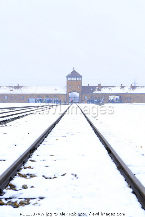 Europe, Eastern Europe, Poland, Auschwitz-Birkenau (German Nazi Concentration and Extermination Camp) Memorial and State Museum, railway lines leading to the entrance of the camp