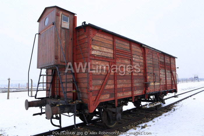 Europe, Eastern Europe, Poland, Auschwitz-Birkenau (German Nazi Concentration and Extermination Camp) Memorial and State Museum, An original carriage used by Nazi Germans to transport people