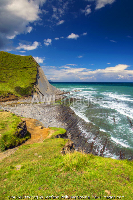 Sedimentary rock formations, Basque Coast Geopark, Zumaia, Gipuzkoa, Basque Country, Spain