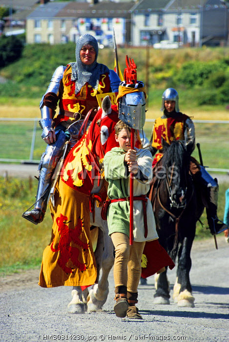 United Kingdom, Wales, Llanelli, Medieval joust at the Eistedfodd, the largest druidic ceremony in the world wich takes place in a different location every year