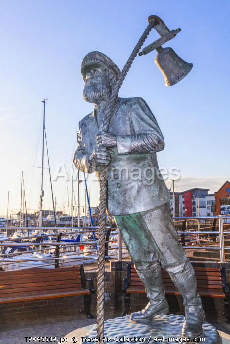 Wales, Glamorgan, Swansea, Swansea Docks, Statue of Captain Cat from the Dylan Thomas Book Under Milk Wood