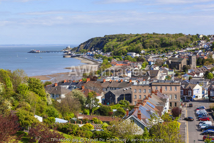 Wales, Glamorgan, Gower Peninsula, Mumbles, View of Mumbles from Oystermouth Castle
