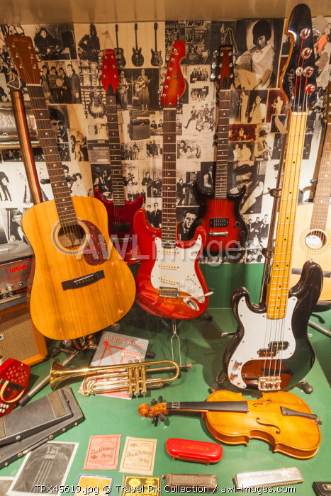 England, Merseyside, Liverpool, Albert Dock, The Beatles Story, Recreated Window of Hessys Music Centre that Closed in 1995