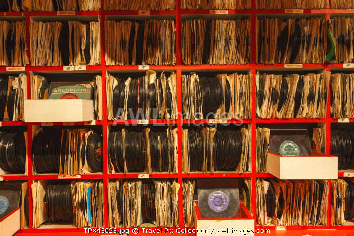 England, Merseyside, Liverpool, Albert Dock, The Beatles Story, Recreated Record Store Shelf with Display of 45's