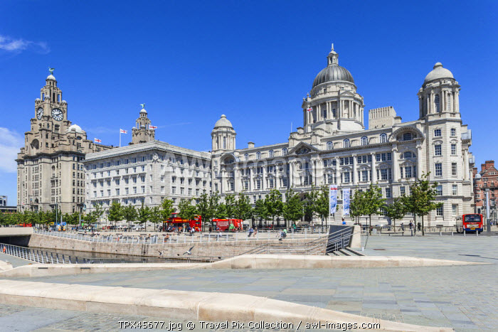 England, Merseyside, Liverpool, Pier Head, The Three Graces Buildings, Royal Liver and Cunard and Port of Liverpool Buildings