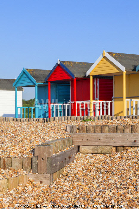 England, Hampshire, Calshot, Beach Huts