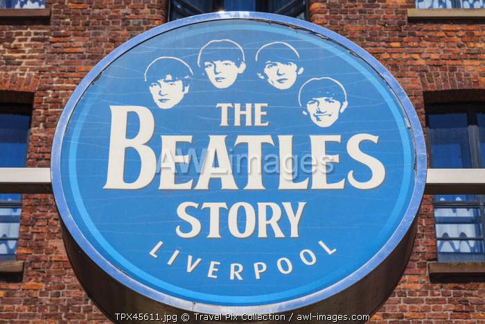 England, Merseyside, Liverpool, Albert Dock, The Beatles Story Sign