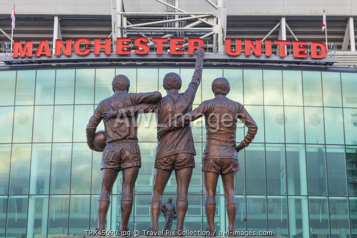 England, Manchester, Salford, Old Trafford Football Stadium, The Holy Trinity Statue