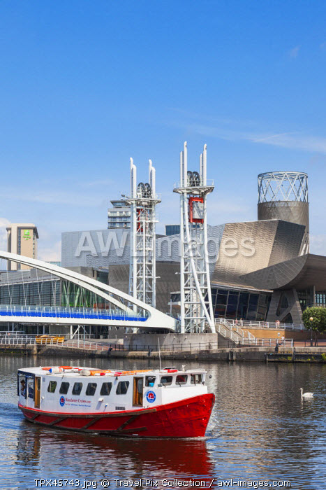 England, Manchester, Salford, The Quays, The Lowry and Millenium Lift Bridge