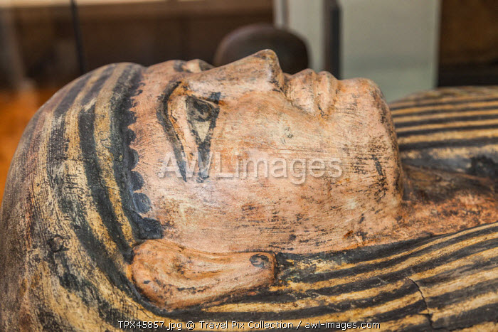 England, Manchester, Manchester Museum, Display of Egyptian Mummy Coffin Lid from Thebes c.747-525 BC