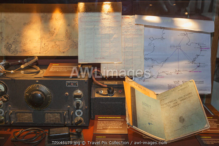 England, Buckinghamshire, Bletchley, Bletchley Park, WWII Telegraph Machine and Operating Notes