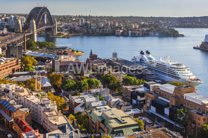 Australia, New South Wales, NSW, Sydney, Sydney Harbour Bridge, The Rocks area, Sydney Opera House, elevated view, morning