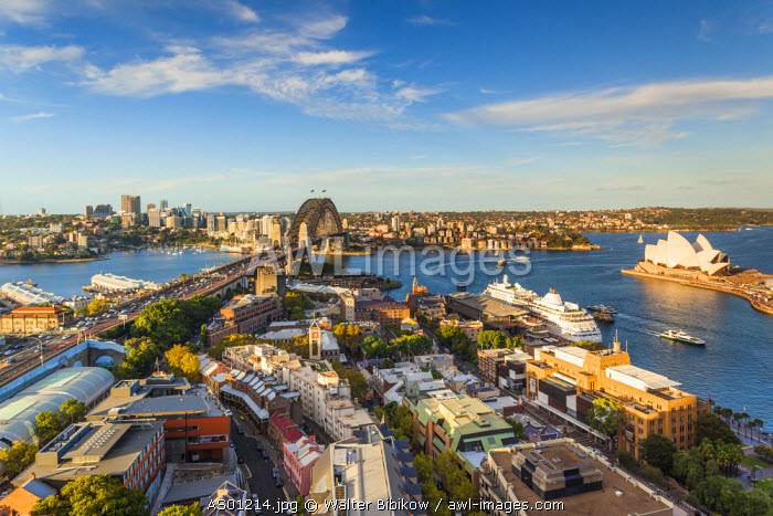 Australia, New South Wales, NSW, Sydney, The Rocks area, Sydney Harbour Bridge and Sydney Opera House, elevated view, late afternoon