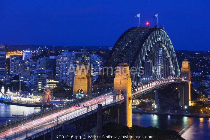 Australia, New South Wales, NSW, Sydney, The Rocks area, Sydney Harbour Bridge, elevated view, dusk