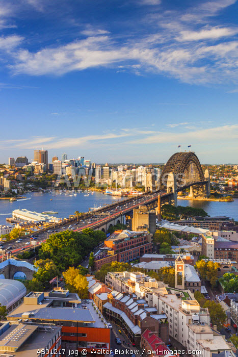 Australia, New South Wales, NSW, Sydney, The Rocks area, Sydney Harbour Bridge, elevated view, late afternoon