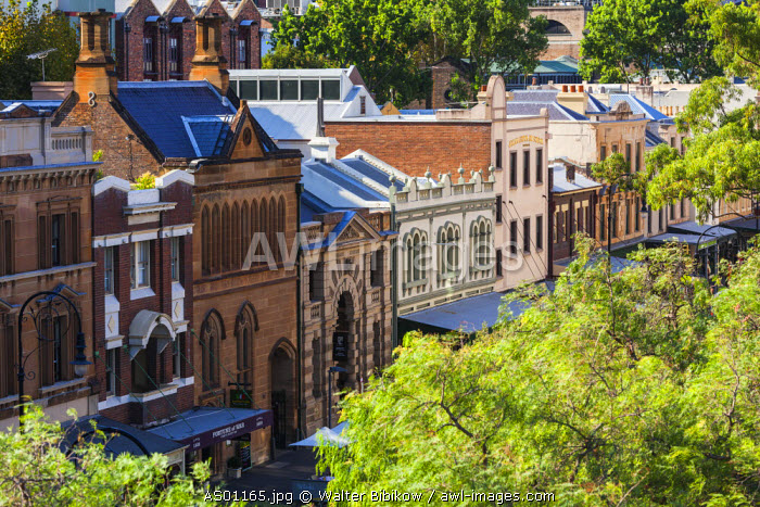 Australia, New South Wales, NSW, Sydney, CBD, The Rocks area, elevated view of George Street
