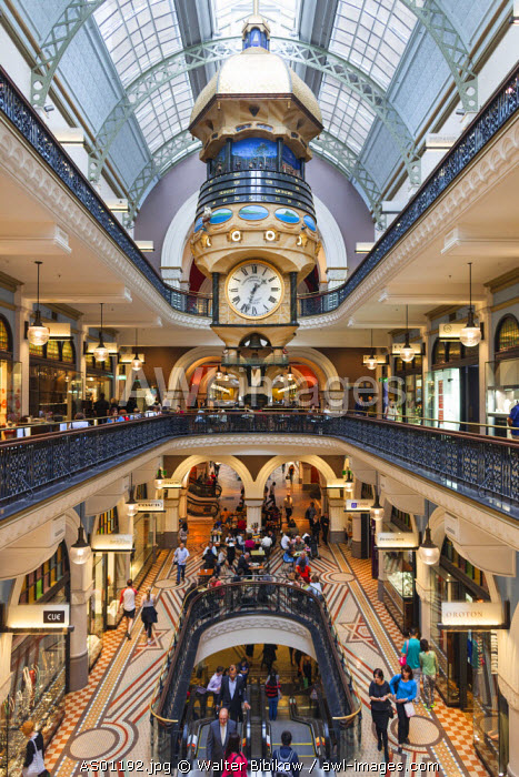 Australia, New South Wales, NSW, Sydney, Queen Victoria Building, QVB, shopping arcade, interior