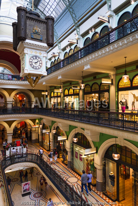 Australia, New South Wales, NSW, Sydney, Queen Victoria Building, QVB, shopping arcade, interior