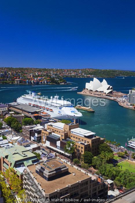 Australia, New South Wales, NSW, Sydney, SThe Rocks area, Sydney Opera House, elevated view, daytime
