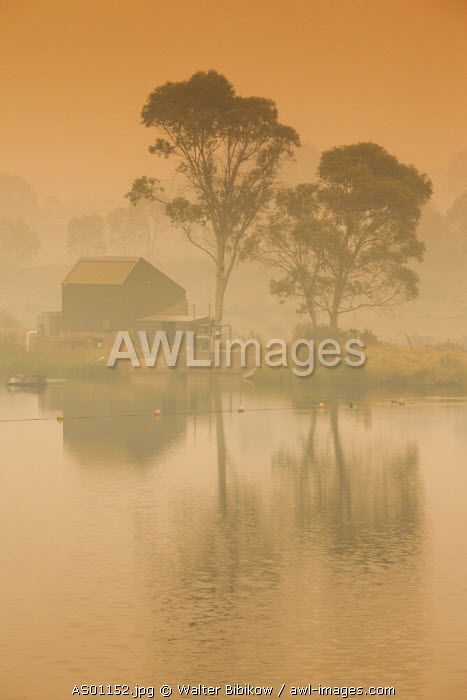 Australia, New South Wales, NSW, Kosciuszko National Park, Thredbo, lake reflection with smoke from forest fire, dusk