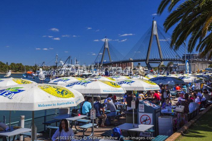 Australia, New South Wales, NSW, Sydney, Blackwattle Bay and the Anzac Bridge, from the Sydney Fish Market