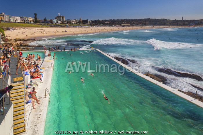 Australia, New South Wales, NSW, Sydney, Bondi Beach, beach pool, elevated view, morning