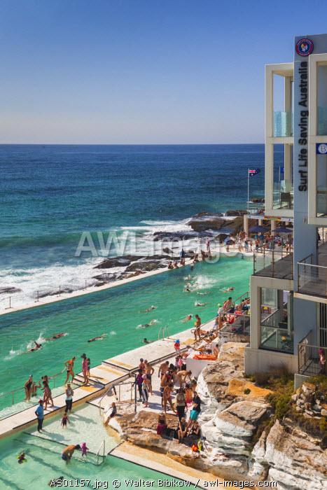 Australia, New South Wales, NSW, Sydney, Bondi Beach, beach pool, elevated view, morning