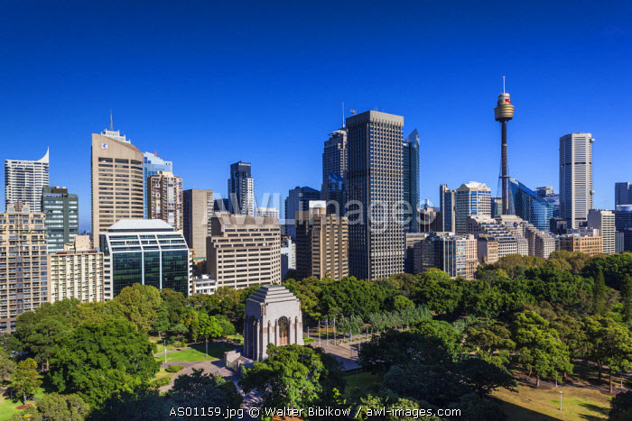 Australia, New South Wales, NSW, Sydney, CBD, Central Business District buildings from Hyde Park. elevated view